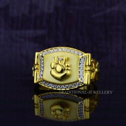Ganesha God 22k Yellow Gold Ring With Stone And Rhodium Color 55
