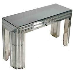 Vintage Glam Art Deco Mirrored Console Table