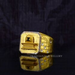 Mens Exclusive Shivling 22ct Gold Ring With Rhodium Color And Diamond Cutting 65