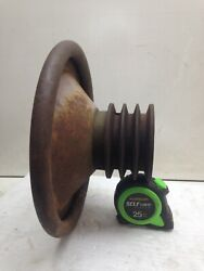 Vintage 1954 Wisconsin Tfd 2 Cylinder Engine Hand Starting Wheel And Pulley