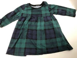 Old Navy Infant Girls Size 6-12 Months Green Plaid Cotton Long Sleeved Dress