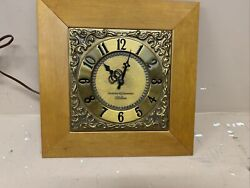 Vintage General Electric Ge Telechron Wooden Wall Clock With Bronze Plaque Works