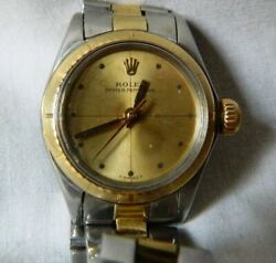 Genuine Ladies Rolex Oyster Perpetual 6804 Watch 18k/750 Solid Gold And Ss Band