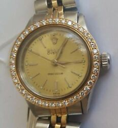 Ladies Rolex Oyster Precision 18k/750 Yellow Gold/ss Watch With Diamond Bezel