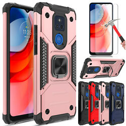 For Moto One 5g Ace 2021 Case Shockproof Ring Stand Cover/glass Screen Protector