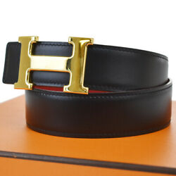 Auth Hermes Constance Reversible H Buckle Belt Leather 65 Black Red 32jc450