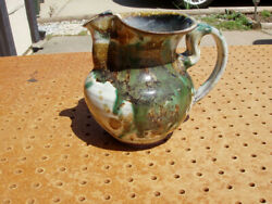 Volckening Signed Vase Pitcher Style Art Pottery Green White Brown Rare Nice