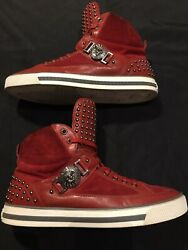 Versace Medusa Studs Red High Tops Size 42 Fits Us 10 Sneakers Shoes Authentic