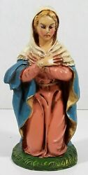 Vintage Fontanini Paper Mache 6 Mary Nativity Italy For 8 Scale