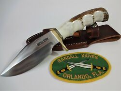 Randall Knife Model 19-4.5 Ss Bushmaster Fg Stag Handle Brass Hilt And Butt