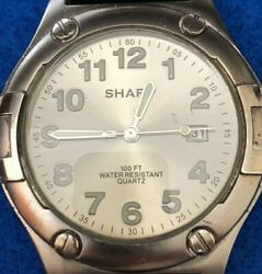 Vintage Sharp Quartz Watch With Date Brand New Battery Black Faux Leather Strap.