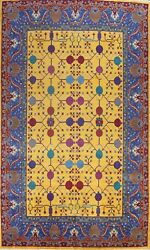 Geometric Oriental Traditional Area Rug Hand-knotted Wool 10x14 Ft Gold Carpet
