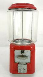 Vintage Oak Acorn Glass And Metal 1 Cent Penny Gum Ball Machine Red