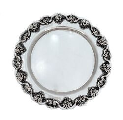 Fine 925 Sterling Silver Handcrafted Embossed Floral And Shell Round Tray