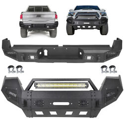 Front / Rear Bumper Full Guard W/ Led Lights D-rings For 2016-2019 Toyota Tacoma