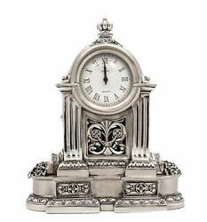Fine Italian Silver Plated Swirl Chased Ornate Table Clock