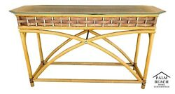 Vintage Mcm Bamboo Leather Rattan And Glass Display Console Sofa Entryway Table