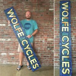 Large Wolfe Cycles Custom Stained Glass Sign — Vintage Retro Americana Mosaic