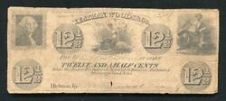 1800and039s 12 1/2 Cents Yeatman Woods And Co. Hickman Ky Obsolete Scrip Note Rare