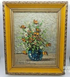 Original Framed Oil On Canvas Floral Still Life By L. Camil Signed W/coa 8x10