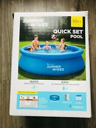 ✨summer Waves 10 Ft X30 In Quick Set Inflatable Ring Pool With Filter Pump New