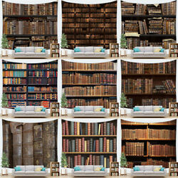 Vintage Library Tapestry Bookshelf Wooden Study Room Old Books Dorm Wall Hanging