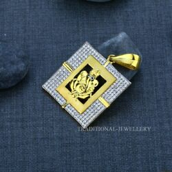 Ganesha Menand039s Exclusive 916 Fancy Gold Pendant Mens Gift Cz Studded Pendant 9