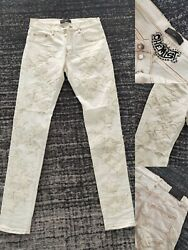 Falection New Amirimike White Leather Star Patch Embroidered Denim Jeans Chemist