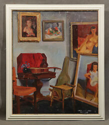 Early 20th Century Oil Painting Signed Robert J. Freiman Interior Of A Room