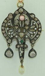 Early Victorian 14k And Sterling Rosecut Diamonds Emerald Pink Conch Pearl Pendant