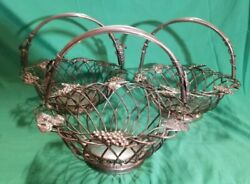 """Vintage Godinger Silver Plated Wire Baskets And Handle 11.5"""" Diam. Grapes Lot 3"""