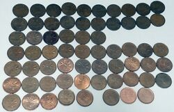 Lot Of 64 Canada 1c 1 Cent Coin Collection