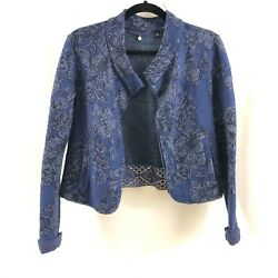 Knitted And Knotted Anthropologie Jacket Jacquard Crochet Open Front Blue Size S