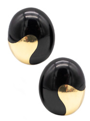 And Co 1970and039s Angela Cummings 18 Kt Gold Oval Earrings With Black Jade