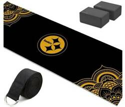 Pittsburgh Steelers Yoga Starter Kit-includes 72 Yoga Mat, 8' Strap And 2 Blocks