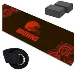 Cleveland Browns Yoga Starter Kit-includes 72 Yoga Mat, 8' Strap And 2 Blocks