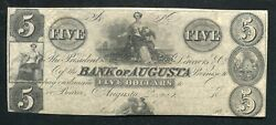 1800's 5 Bank Of Augusta Georgia Obsolete Remainder Uncirculated