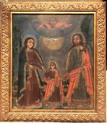 18thc Spanish Large Colonial Religious Altar Oil Painting On Canvas Holy Family