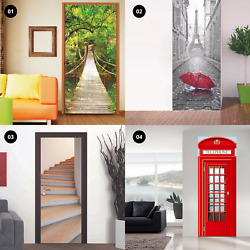 3D Door Mural Wall Stickers Art Decal Self Adhesive Removable Living Room Decor