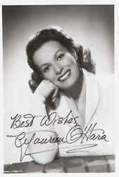 Maureen Oand039hara. American Actress And Singer. B/w 5x7 Autographed Photo