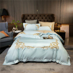 Newly Listed Pure Cotton Bedding Set 4pcs Embroidered Duvet Cover Bed Sheet Gift