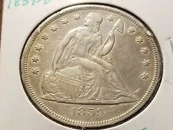1859 O Seated Liberty Silver Dollar Full Bold Date And Liberty  Inv02  S222