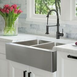 Stylish 33 Inch Farmhouse Double Bowl Stainless Steel Apron Kitchen Sink