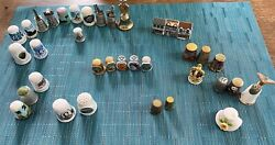 Lot 36 Assorted Collectible Thimbles - Sites, States, Porcelain And Metal And More