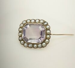 Late Georgian Early Victorian 15ct Gold And Amethyst Brooch