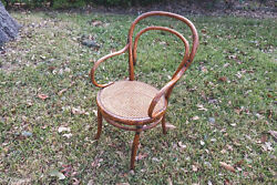 Antique Thonet-style Bentwood Cane Bistro Cafe Captain's Chair, Pristine
