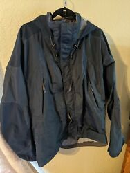 Marmot Stretch Armstrong Jacket Navy Blue Large Brimmed Hood Zipper Doesn't Work