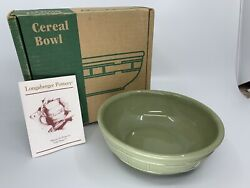 Rare Made In 🇺🇸 Longaberger Pottery Cereal/soup Bowl - Sage Green New In Box