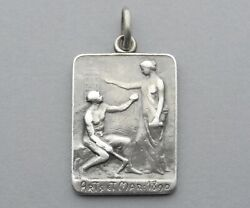 French Antique Silver Pendant 1890 Woman Female Marianne Man Arts. Medal.