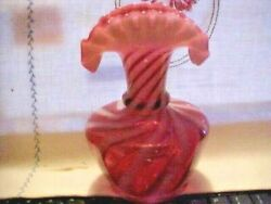 Fenton Cranberry Candy Stripe Swirl Fluted Top Vase 7 Inches Tall Double Ruffle